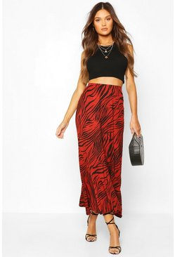 Terracotta Flared Hem Animal Print Midaxi Skirt