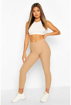 Camel Highwaist Textured Tonal Leggings