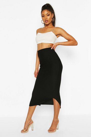 Black Highwaist Textured Tonal Midaxi Skirt