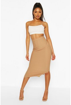 Camel Highwaist Textured Tonal Midaxi Skirt