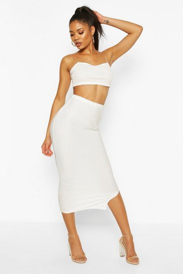 Ecru Highwaist Textured Tonal Midaxi Skirt