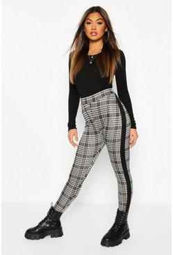 Womens Black Contrast Panel Checked Jacquard Treggings