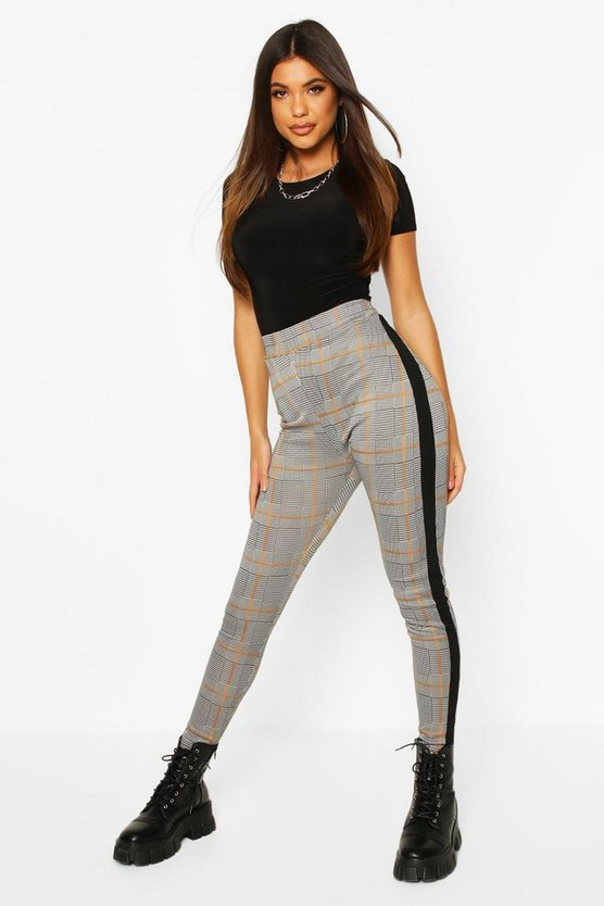 Black Contrast Panel Checked Jacquard Treggings