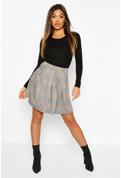 Womens Black Jacquard Check Box Pleat Skater Skirt