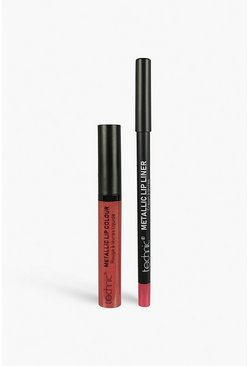 Womens Nude Technic Metallic Lip Kit - Rose Quartz