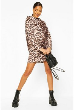 Leopard Print Hooded Sweat Dress