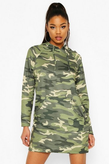 Khaki Camo Print Hooded Sweat Dress