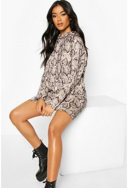 Womens Stone Snake Print Hooded Sweatshirt