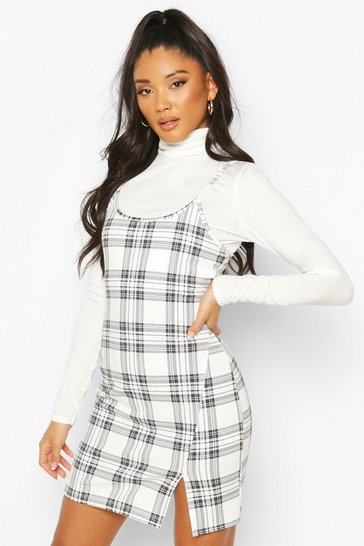 Cream Check Funnel Neck Long Sleeve Set