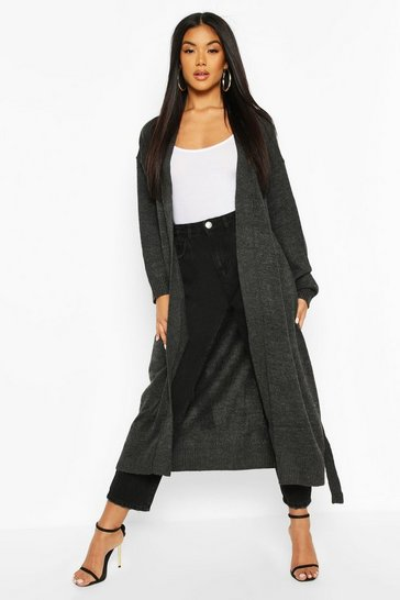 Black Maxi Belted Cardigan