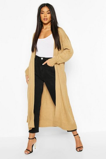 Womens Camel Maxi Belted Cardigan