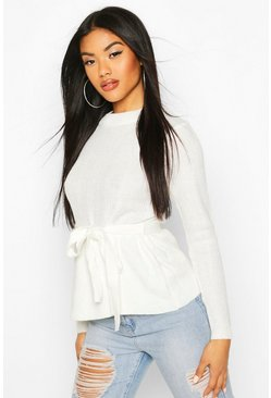 Dam Cream Tie Front Ribbed Knit Jumper