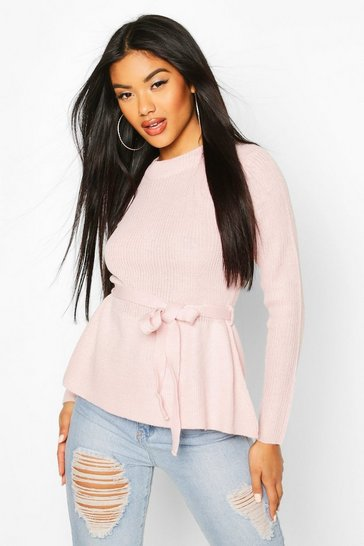 Womens Rose Tie Front Ribbed Knit Jumper