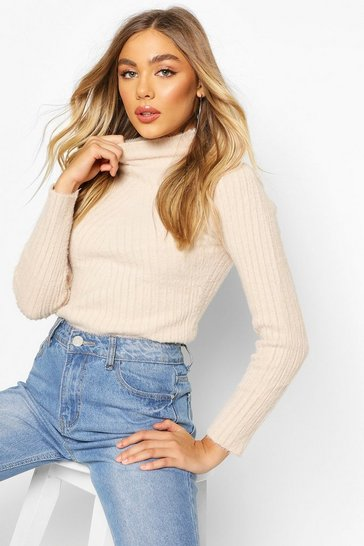 Camel Fluffy Rib Knit Turtle Neck Jumper