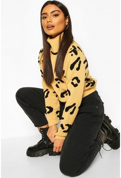 Camel Leopard Print Roll Neck Crop Sweater