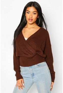 Chocolate Wrap Front Knitted Crop Sweater