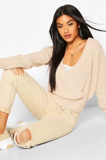 Womens Stone Wrap Front Knitted Crop Jumper