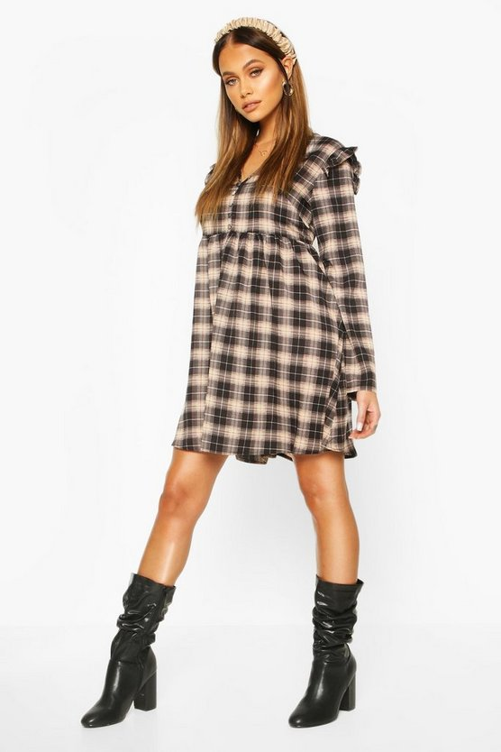 Black Check Smock Dress