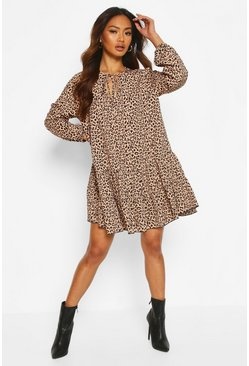 Brown Leopard Tie Detail Smock Dress
