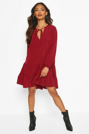 Wine Tie Detail Smock Dress