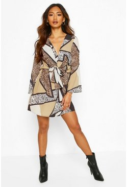Brown Animal Print Knot Wrap Dress