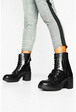 Black Croc Lace Up Heeled Hiker Boots