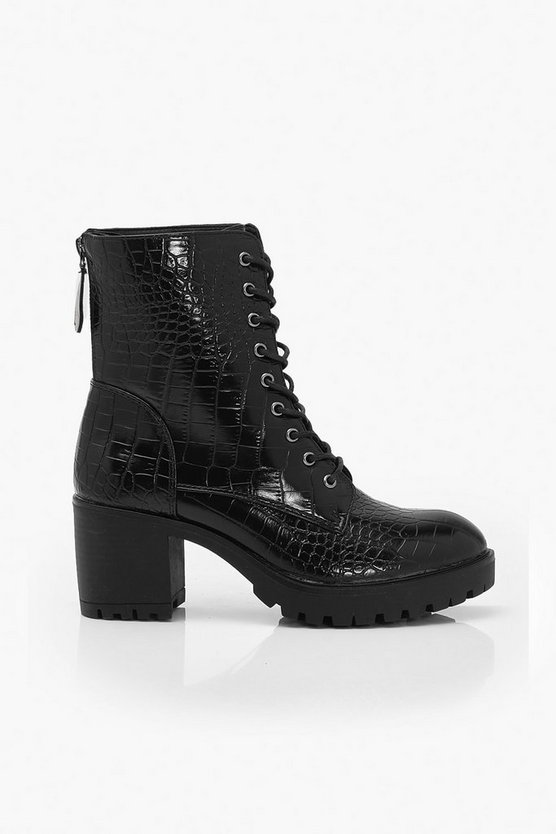 Croc Lace Up Heeled Hiker Boots