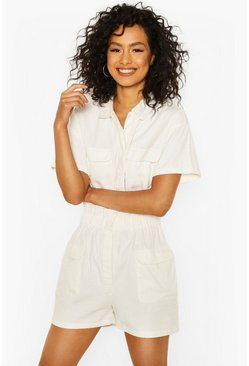 Utility-Playsuit aus Denim, Naturfarben