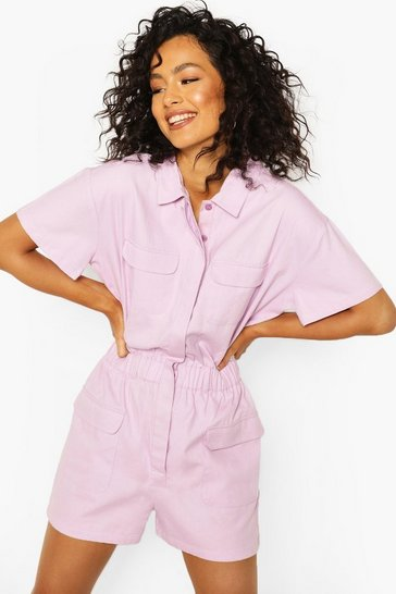 Lilac Utility Denim Playsuit
