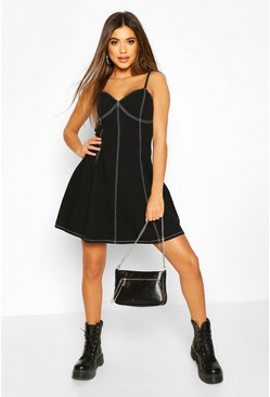 Black Contrast Stitch Denim Skater Dress
