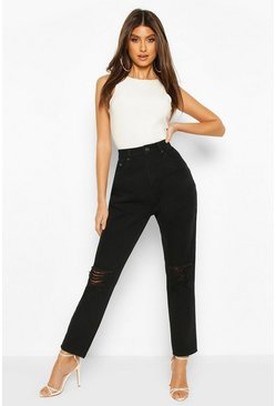 Black High Waist Distressed Boyfriend Jean