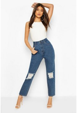 Mid blue High Waist Distressed Boyfriend Jean