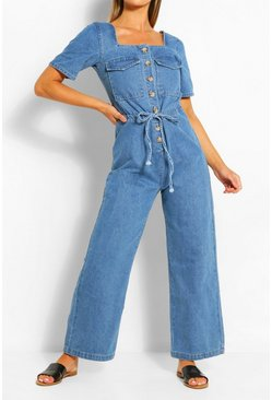 Mid blue Mock Horn Tie Waist Denim Jumpsuit