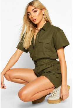 Khaki Utility Denim Playsuit