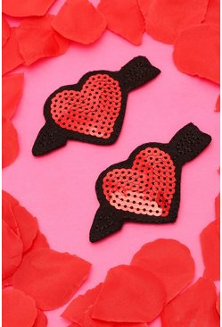 Red Sequin Arrow Heart Nipple Covers