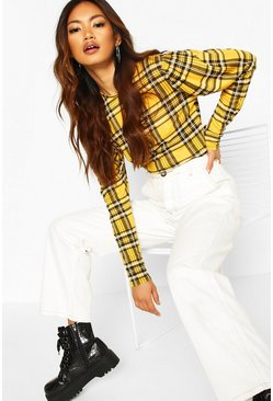 Mustard Check Crew Neck Puff Sleeve Top