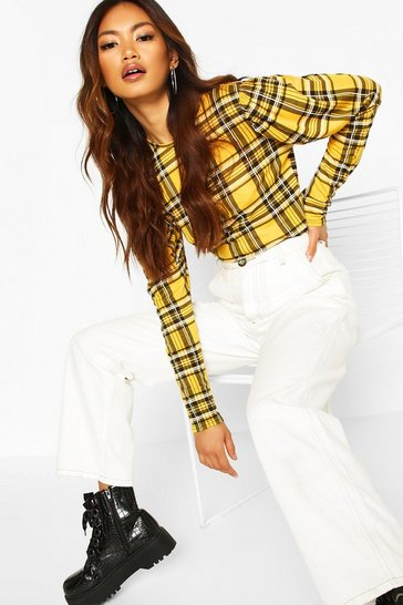 Womens Mustard Check Crew Neck Puff Sleeve Top