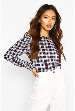 Womens Navy Check Crew Neck Puff Sleeve Top