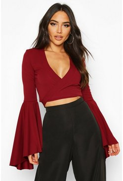 Berry Extreme Flute Sleeve Wrap Cropped Top