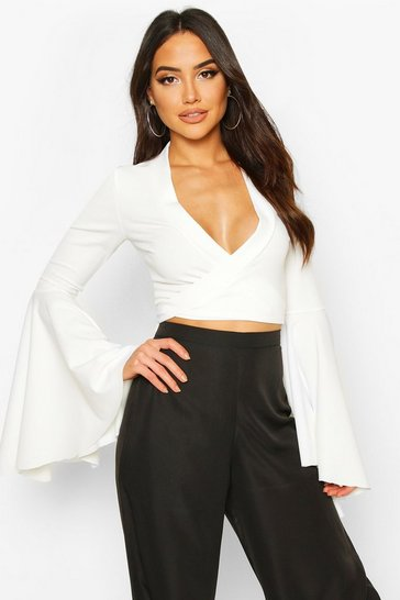 Ivory Extreme Flute Sleeve Wrap Cropped Top