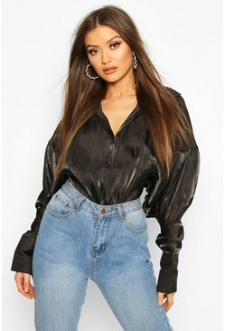 Black Balloon Oversized Shimmer Shirt