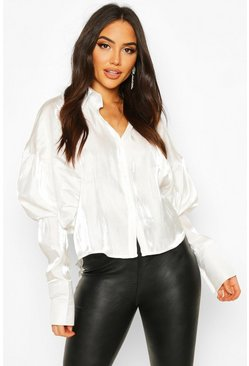 Womens White Balloon Oversized Shimmer Shirt