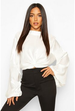 Womens White Balloon Sleeve Twist Front Shirt