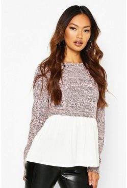 Womens Pink Boucle High Neck Shirt