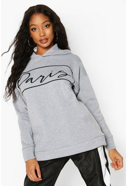 Grey Paris Slogan Oversized Sweat Hoodie