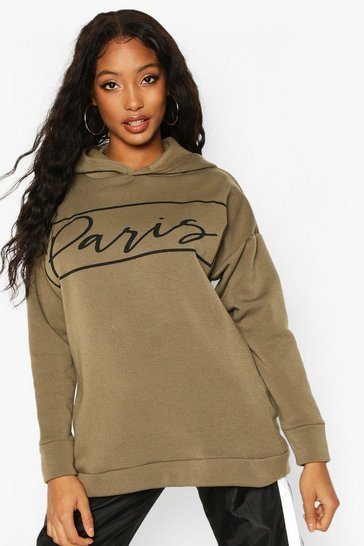 Khaki Paris Slogan Oversized Sweat Hoodie