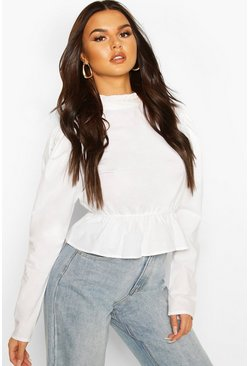 White Poplin Puff Sleeve Cotton Cropped Blouse