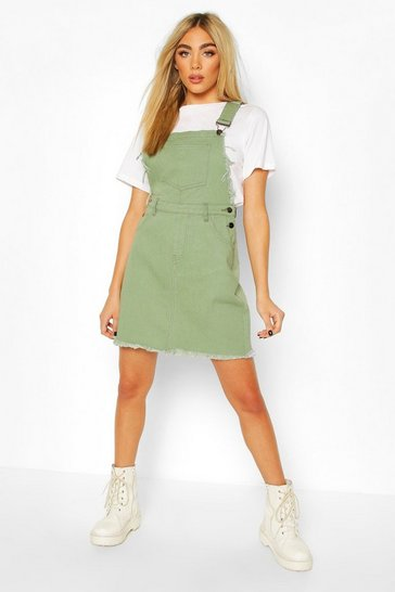 Khaki Frayed Edges Denim Pinafore Dress