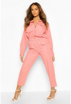 Pink Woven Embroidered Slogan Utility Denim Boilersuit