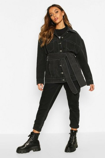 Black Contrast Stitch Belted Denim Jacket